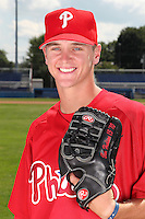 Williamsport Crosscutters pitcher David Buchanan (46) poses for a photo in Phillies gear before a game vs the Batavia Muckdogs at Dwyer Stadium in Batavia, New York July 26, 2010.   Batavia defeated Williamsport 3-2.  Photo By Mike Janes/Four Seam Images