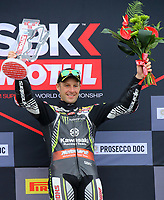 Jonathan Rea Race 1 Podium during the 2019 World Superbike Championship Prosecco DOC UK Round 8 at Donington Park GP Race Circuit, Donington Park, England on 5th to 7th July 2019. Photo by Ian Hopgood.