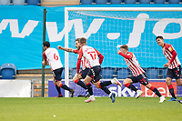 Conor McAleny of Oldham Athletic celebrates following his second and the visitors equalising goal during Colchester United vs Oldham Athletic, Sky Bet EFL League 2 Football at the JobServe Community Stadium on 3rd October 2020