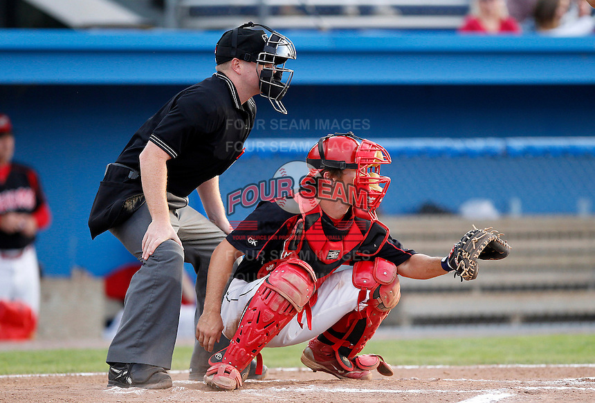 Batavia Muckdogs catcher Casey Rasmus #5 during the second game of a doubleheader against the Williamsport Crosscutters at Dwyer Stadium on August 23, 2011 in Batavia, New York.  Batavia defeated Williamsport 2-1.  (Mike Janes/Four Seam Images)