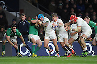 Jack Nowell, FEBRUARY 27, 2016 - Rugby : Jack Nowell of England drives forward near the tryline as Owen Farrell and James Haskell of England support during the RBS 6 Nations match between England and Ireland at Twickenham Stadium, London, United Kingdom. (Photo by Rob Munro)