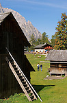Italy, South Tyrol, Alto Adige, Dolomites, Moso: hiking region Prati di Croda Rossa with Prati di Croda Rossa Mountain Inn and Monte Casella mountain