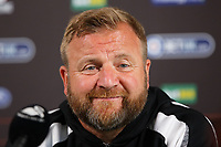 Assistant manager Billy Reid speaks to reporters during the Swansea City FC press conference, at the club's Fairwood Training Ground near Swansea, Wales, UK