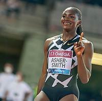 10th June 2021; Stadio Luigi Ridolfi, Florence, Tuscany, Italy; Muller Diamond League Grand Prix Athletics, Florence andRome; Dina Asher Smith shows who is number 1 in a celebratory pose
