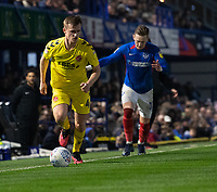 Fleetwood Town's Callum Connolly (left) holds off the challenge from Portsmouth's Ronan Curtis (right) <br /> <br /> Photographer David Horton/CameraSport<br /> <br /> The EFL Sky Bet League One - Portsmouth v Fleetwood Town - Tuesday 10th March 2020 - Fratton Park - Portsmouth<br /> <br /> World Copyright © 2020 CameraSport. All rights reserved. 43 Linden Ave. Countesthorpe. Leicester. England. LE8 5PG - Tel: +44 (0) 116 277 4147 - admin@camerasport.com - www.camerasport.com