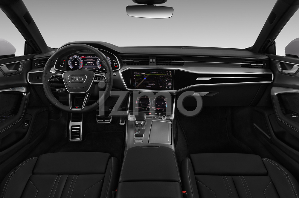 Stock photo of straight dashboard view of a 2018 Audi A7 Sportback S Line 5 Door Hatchback