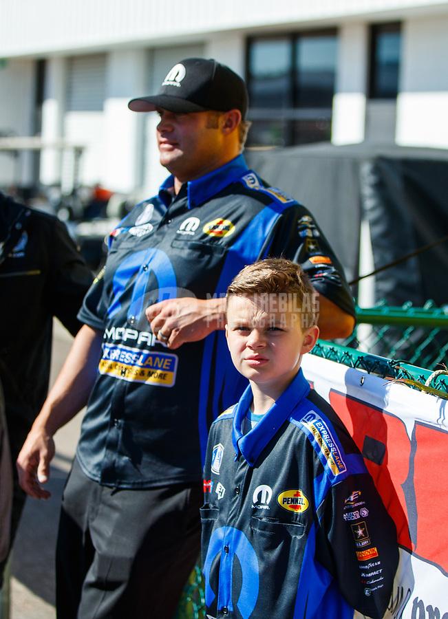 Mar 19, 2017; Gainesville , FL, USA; NHRA funny car driver Matt Hagan and son Colby Hagan during the Gatornationals at Gainesville Raceway. Mandatory Credit: Mark J. Rebilas-USA TODAY Sports