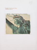 """Cover of the 1995 New York Community Trust Annual Report<br /> <br /> New York, New York<br /> Editor: Anne Backman<br /> Design: Graphicom<br /> <br /> Polaroid Transfer photograph of the Statue of Liberty available directly from Jeff for commercial/editorial licensing and for sale as a fine art print.  See the """"Polaroid Transfers' Gallery within this website for more information...."""