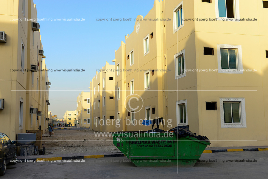 QATAR, Doha, housing complex for migrant worker outside the city / KATAR, Doha, Gastarbeiter, Sammelunterkunft fuer Gastarbeiter ausserhalb der Stadt