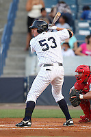 Tampa Yankees designated hitter Luke Murton #53 at bat during a game against the Clearwater Threshers at Steinbrenner Field on June 22, 2011 in Tampa, Florida.  The game was suspended due to rain in the 10th inning with a score of 2-2.  (Mike Janes/Four Seam Images)
