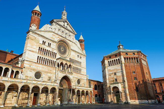 Romanesque facade and Baptistry  of the Romanesque Cathedral of Cremona, begun 1107, with later Gothic, Renaissance & Baroque elements, Cremona, Lombardy, northern Italy