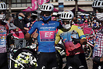 Maglia Azzurra Ruben Guerreiro (POR) and Jonathan Caicedo (ECU) EF Pro Cycling at sign on before the start of Stage 11 of the 103rd edition of the Giro d'Italia 2020 running 182km from Porto Sant'Elpidio to Rimini, Italy. 14th October 2020.  <br /> Picture: LaPresse/Gian Mattia D'Alberto | Cyclefile<br /> <br /> All photos usage must carry mandatory copyright credit (© Cyclefile | LaPresse/Gian Mattia D'Alberto)