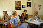 Conservative women Mrs Thatcher supporters meet Dulwich  South London. Thatcher and Churchill portraits on wall behind 1990