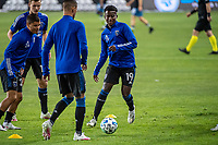 SAN JOSE, CA - OCTOBER 18: Siad Haji #19 of the San Jose Earthquakes warms up before a game between Seattle Sounders FC and San Jose Earthquakes at Earthquakes Stadium on October 18, 2020 in San Jose, California.