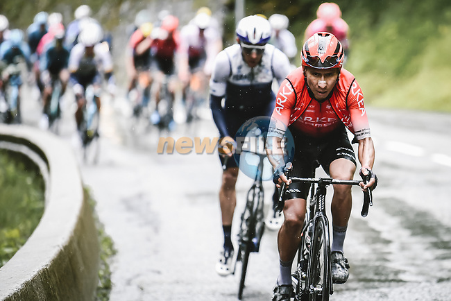 Nairo Quintana (COL) Team Arkea-Samsic and Michael Woods (CAN) Israel Start-Up Nation attack on the Col des Saisies during Stage 9 of the 2021 Tour de France, running 150.8km from Cluses to Tignes, France. 4th July 2021.  <br /> Picture: A.S.O./Pauline Ballet | Cyclefile<br /> <br /> All photos usage must carry mandatory copyright credit (© Cyclefile | A.S.O./Pauline Ballet)