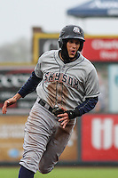 Colorado Springs Sky Sox third baseman Garin Cecchini (7) rounds third base during a Pacific Coast League game against the Iowa Cubs on May 1st, 2016 at Principal Park in Des Moines, Iowa.  Colorado Springs defeated Iowa 4-3. (Brad Krause/Four Seam Images)