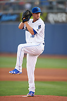 Tulsa Drillers starting pitcher Andrew Sopko (20) delivers a warmup pitch during a game against the San Antonio Missions on June 1, 2017 at ONEOK Field in Tulsa, Oklahoma.  Tulsa defeated San Antonio 5-4 in eleven innings.  (Mike Janes/Four Seam Images)
