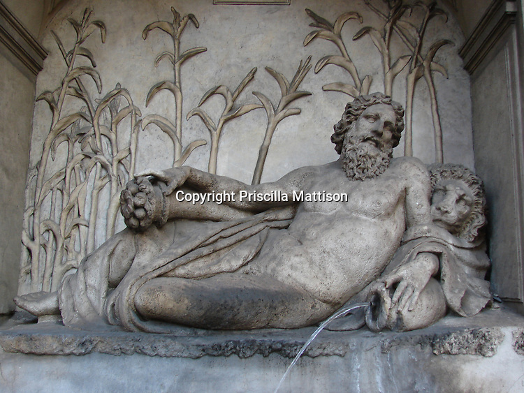 Rome, Italy - January 27, 2007:  The River Arno fountain by Domenico Fontana is one of the Quattro Fontane (four fountains) at an intersection in Rome.