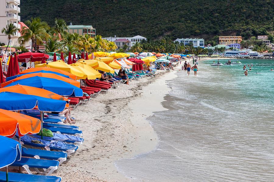 Philipsburg, Sint Maarten.  Beach Scene.