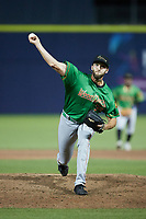 Down East Wood Ducks relief pitcher Spencer Mraz (39) in action against the Kannapolis Cannon Ballers at Atrium Health Ballpark on May 5, 2021 in Kannapolis, North Carolina. (Brian Westerholt/Four Seam Images)