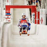 4 December 2015: Justin Krewson and Andrew Sherk, sliding for the United States of America, cross the finish line after their second run, finishing 6th for the day with a combined time of 1:28.502 in the Doubles Competition of the Viessmann Luge World Cup at the Olympic Sports Track in Lake Placid, New York, USA. Mandatory Credit: Ed Wolfstein Photo *** RAW (NEF) Image File Available ***