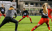Woluwe's Kenza Vrithof (9) (facing) warms up before a female soccer game between FC Femina WS Woluwe and Standard Femina de Liege on the fourth match day of the 2020 - 2021 season of Belgian Womens Super League , Friday 8th of October 2020  in Liege , Belgium . PHOTO SPORTPIX.BE | SPP | SEVIL OKTEM