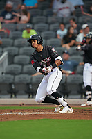Fayetteville Woodpeckers Jeremy Pena (2) at bat during a Carolina League game against the Down East Wood Ducks on August 13, 2019 at SEGRA Stadium in Fayetteville, North Carolina.  Fayetteville defeated Down East 5-3.  (Mike Janes/Four Seam Images)