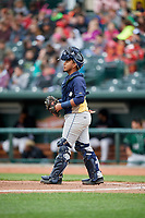 Burlington Bees catcher Mario Sanjur (26) during a game against the Great Lakes Loons on May 4, 2017 at Dow Diamond in Midland, Michigan.  Great Lakes defeated Burlington 2-1.  (Mike Janes/Four Seam Images)