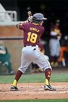 Arizona State Sun Devils center fielder Johnny Sewald #18 awaits the pitch during a game against  the Tennessee Volunteers at Lindsey Nelson Stadium on February 23, 2013 in Knoxville, Tennessee. The Volunteers won 11-2.(Tony Farlow/Four Seam Images).
