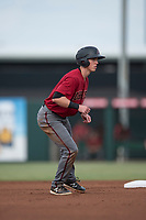 AZL Diamondbacks right fielder Kevin Watson Jr (7) takes a lead off second base during the completion of a suspended Arizona League game against the AZL Angels at Tempe Diablo Stadium on July 16, 2018 in Tempe, Arizona. The game was a continuation of the July 11, 2018 contest that was suspended by rain in the middle of the eighth inning. The AZL Diamondbacks defeated the AZL Angels 12-8. (Zachary Lucy/Four Seam Images)