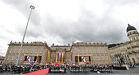 BOGOTÁ -COLOMBIA. 07-08-2014. Juan Manuel Santos, presidente reelecto de Colombia, toma posesión para su nuevo período constitucional como presidente 2014 - 2018 en las afueras del Capitolio Nacional en la ciudad de Bogotá./ Juan Manuel Santos, reelected president of Colombia, takes office to his new constitutional term as president 2014 - 18 outseide of National Capitol in Bogota city. Photo: VizzorImage/ Gabriel Aponte / Staff