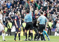 FC Barcelona's Victor Valdes have words with the referee Miguel Angel Perez Lasa in presence of Andres Iniesta (l) and Gerard Pique (c) after La Liga match.March 02,2013. (ALTERPHOTOS/Acero) /NortePhoto