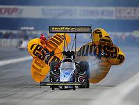 Nov. 12, 2011; Pomona, CA, USA; NHRA top fuel dragster driver Cory McClenathan during qualifying at the Auto Club Finals at Auto Club Raceway at Pomona. Mandatory Credit: Mark J. Rebilas-.