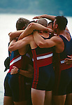 Rowing, FISA Rowing World Championships, Lac Aiguebelette,  France, Europe, United States men's eight, world champions, 1997, medals ceremony, crew celebrates winnibg gold medal,.