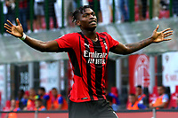 Rafael Leao of AC Milan celebrates after scoring the goal of 2-0 during the Serie A 2021/2022 football match between AC Milan and SS Lazio at Giuseppe Meazza stadium in Milano (Italy), August 29th, 2021. Photo Image Sport / Insidefoto