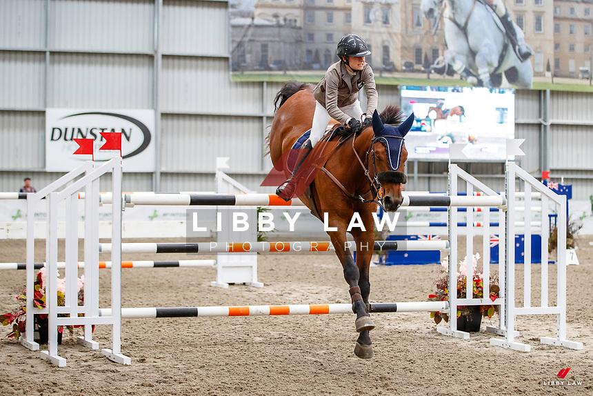 NZL-Olivia Dalton rides Yalambi's Garabaldi. Class 29: Fiber Fresh Horse 1.40m-1.45m 10K - FINAL. 2021 NZL-Easter Jumping Festival presented by McIntosh Global Equestrian and Equestrian Entries. NEC Taupo. Sunday 4 April. Copyright Photo: Libby Law Photography