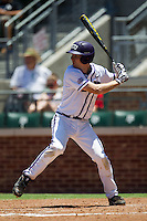 First baseman Brett Johnson #7 of the Texas Christian University Horned Frogs at bat during the NCAA Regional baseball game against the Ole Miss Rebels on June 1, 2012 at Blue Bell Park in College Station, Texas. Ole Miss defeated TCU 6-2. (Andrew Woolley/Four Seam Images)