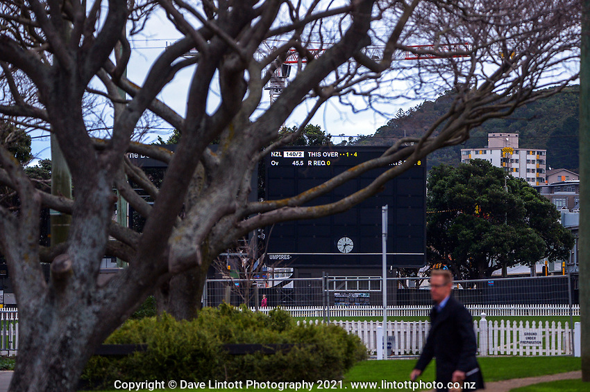 The final over of the ICC World Test Championship Final between the NZ Black Caps and India is displayed on the Don Neely Scoreboard at the Basin Reserve in Wellington, New Zealand on Wednesday, 30 June 2021. Photo: Dave Lintott / lintottphoto.co.nz