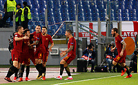 Roma s Stephan El Shaarawy, second from left, celebrates with his teammates after scoring during the Champions League Group C soccer match between Roma and Chelsea at Rome's Olympic stadium, October 31, 2017.<br /> UPDATE IMAGES PRESS/Riccardo De Luca