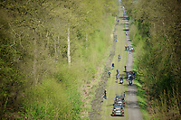 Team Trek Factory Racing over the cobbles of the Bois de Wallers-Arenberg<br /> <br /> 2014 Paris-Roubaix reconnaissance