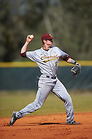 Central Michigan Chippewas shortstop Zach McKinstry (8) throws to first during a game against the Boston College Eagles on March 8, 2016 at North Charlotte Regional Park in Port Charlotte, Florida.  Boston College defeated Central Michigan 9-3.  (Mike Janes/Four Seam Images)