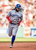 22 June 2019: Toronto Blue Jays shortstop Freddy Galvis rounds the bases after hitting a two-run home run in the 7th inning against the Boston Red Sox at Fenway :Park in Boston, MA. The Blue Jays rallied to defeat the Red Sox 8-7 in the 2nd game of their 3-game series. Mandatory Credit: Ed Wolfstein Photo *** RAW (NEF) Image File Available ***
