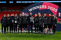 1st November 2020; Wembley Stadium, London, England; Womens FA Cup Final Football, Everton Womens versus Manchester City Womens; Manchester City Women Head Coach Gareth Taylor posing with the Womens FA Cup Final trophy alongside his coaching staff