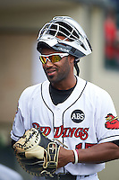 Rochester Red Wings catcher Carlos Paulino (17) during a game against the Indianapolis Indians on May 26, 2016 at Frontier Field in Rochester, New York.  Indianapolis defeated Rochester 5-2.  (Mike Janes/Four Seam Images)