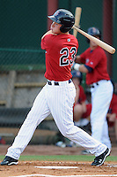 Elizabethton Twins left fielder Max Kepler #23 at bat during a game against the Bluefield Blue Jays at Joe O'Brien Field on June 21, 2011 in Elizabethton, Tennessee.  The game was delayed with the score 5-5.  (Tony Farlow/Four Seam Images)