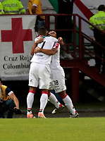 MANIZALES - COLOMBIA - 07 - 03 - 2018: Los jugadores de Once Caldas, celebran el gol anotado al Deportivo Independiente Medellin, durante partido entre Once Caldas y Deportivo Independiente Medellin, de la fecha 7 por la Liga de Aguila I 2018 en el estadio Palogrande en la ciudad de Manizales. / The players of Once Caldas, celebrate a scored goal to Deportivo Independiente Medellin, during a match between Once Caldas and Deportivo Independiente Medellin, of the 7th date  for the Liga de Aguila I 2018 at the Palogrande stadium in Manizales city. Photo: VizzorImage  / Santiago Osorio / Cont.