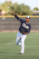 Corey Kimber #63 of the AZL Padres throws before a game against the AZL Diamondbacks at the Peoria Sports Complex on July 7, 2014 in Peoria, Arizona. AZL Padres defeated the AZL Diamondbacks, 9-4. (Larry Goren/Four Seam Images)