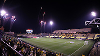 COLUMBUS, OH - DECEMBER 12: Fireworks go off above the stadium during the playing of the national anthem before a game between Seattle Sounders FC and Columbus Crew at MAPFRE Stadium on December 12, 2020 in Columbus, Ohio.