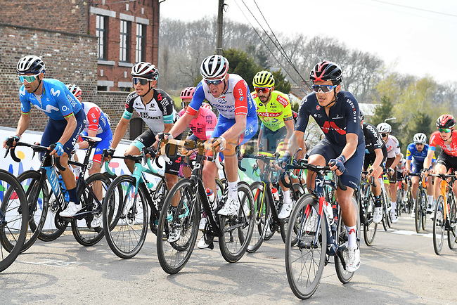 Alejandro Valverde (ESP) Movistar Team, Esteban Chaves (COL) Team BikeExchange and Tom Pidcock (ENG) Ineos Grenadiers climb the Mur de Huy during the 2021 Flèche-Wallonne, running 193.6km from Charleroi to Huy, Belgium. 21st April 2021.  <br /> Picture: Serge Waldbillig | Cyclefile<br /> <br /> All photos usage must carry mandatory copyright credit (© Cyclefile | Serge Waldbillig)