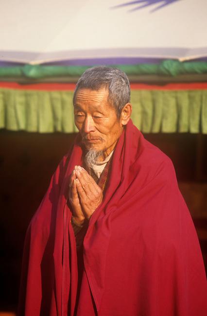Monk Praying, Punakha, Bhutan